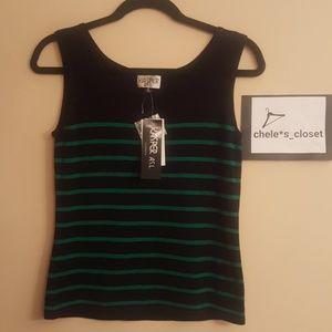 Kasper Sleeveless black with green striped shirt